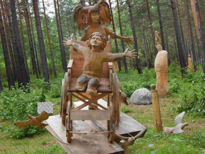 Lukomorye Wooden Sculpture Park in Angarsk, Russia
